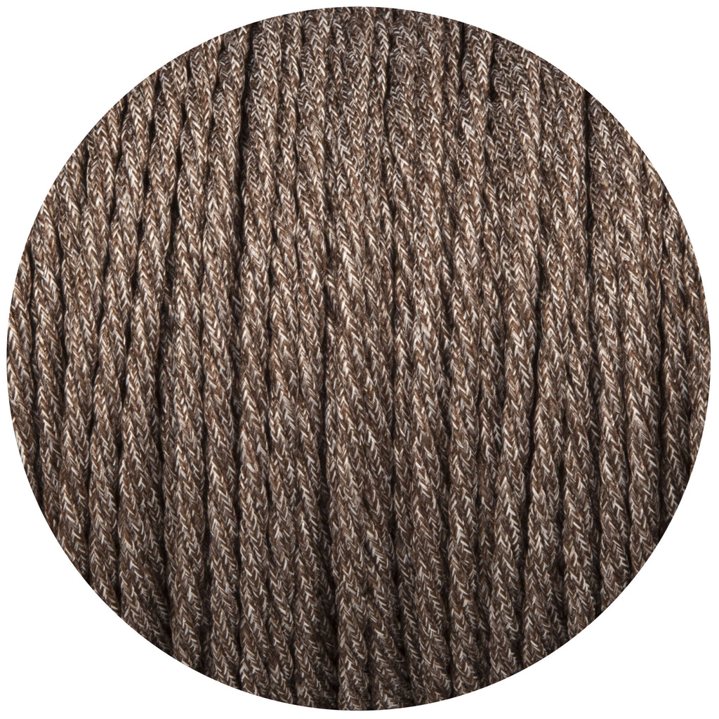 Brown Canvas Twisted Fabric Braided Cable