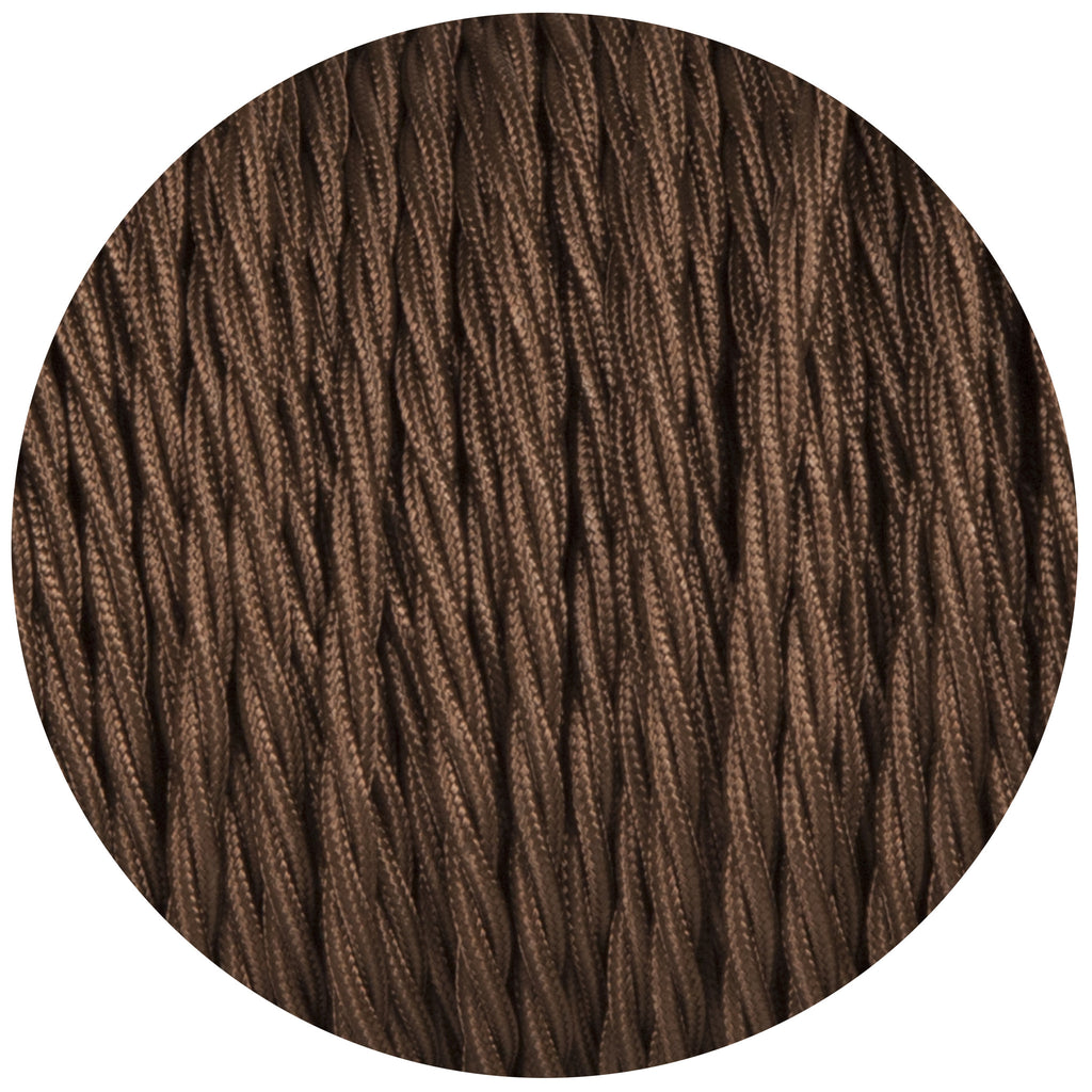 Brown Twisted Fabric Braided Cable