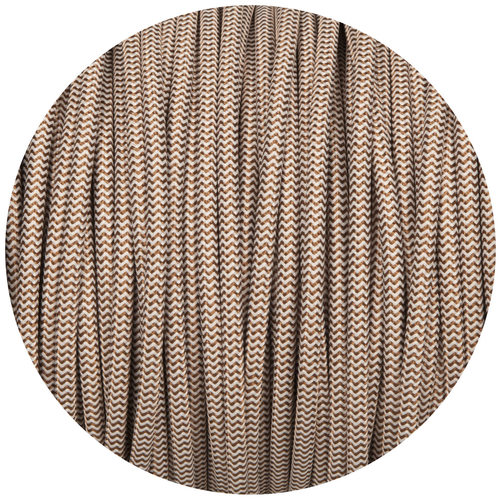 Brown & White Round Fabric Braided Cable