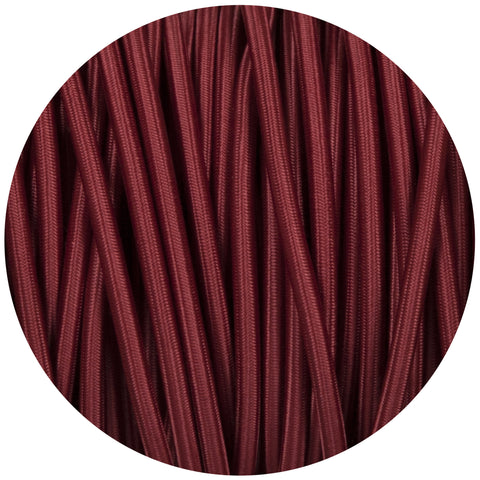 Burgundy Round Fabric Braided Cable