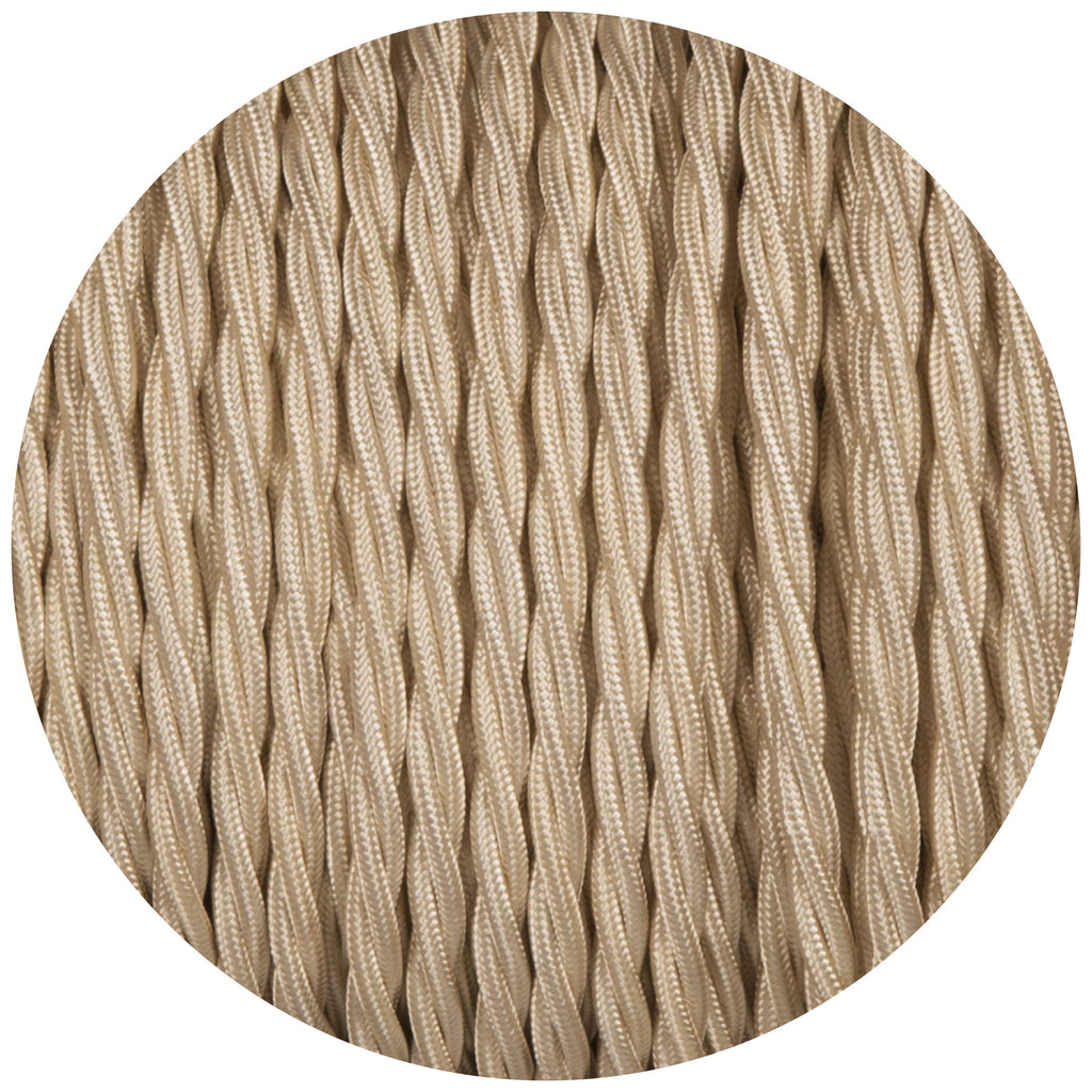 Cream Twisted Fabric Braided Cable