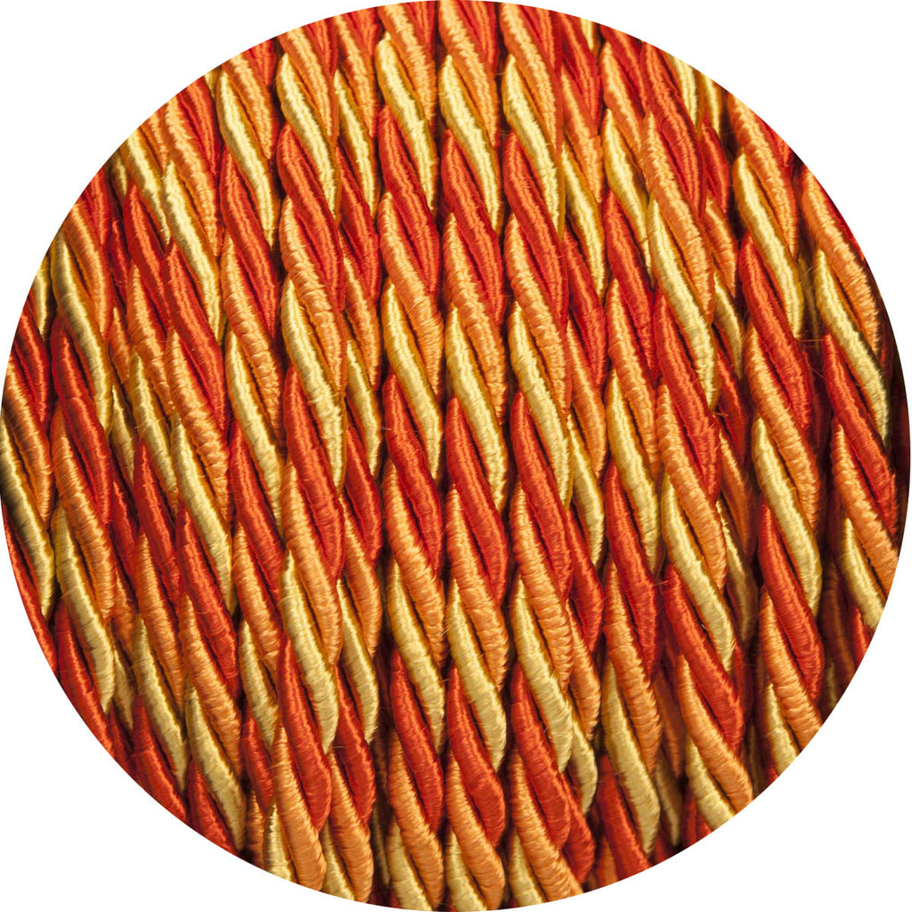 Deep Oranges Velvet Twisted Fabric Cable