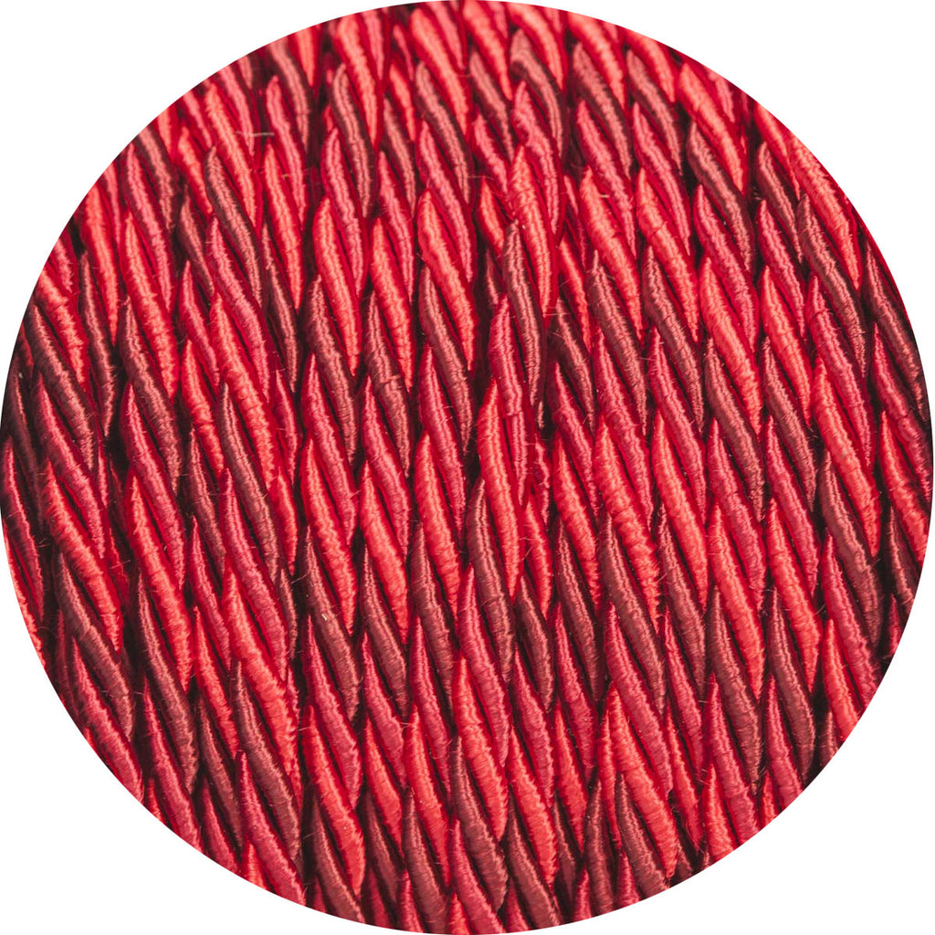 Deep Reds Velvet Twisted Fabric Cable