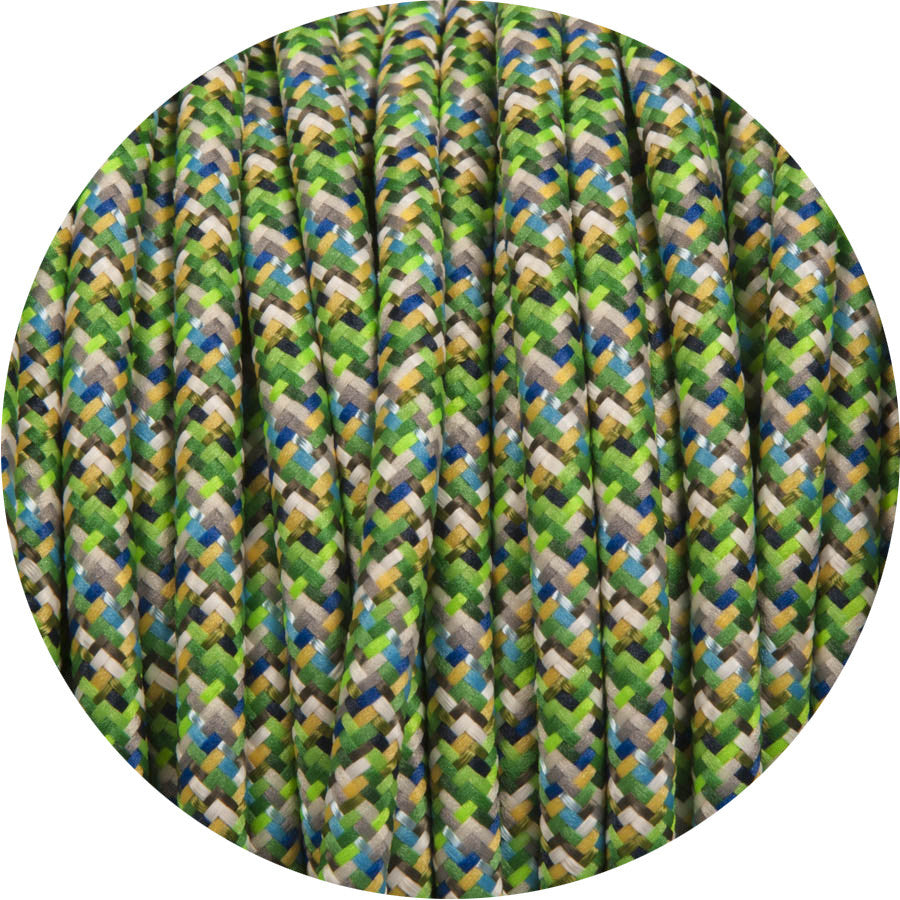 Digital Green Round Fabric Cable