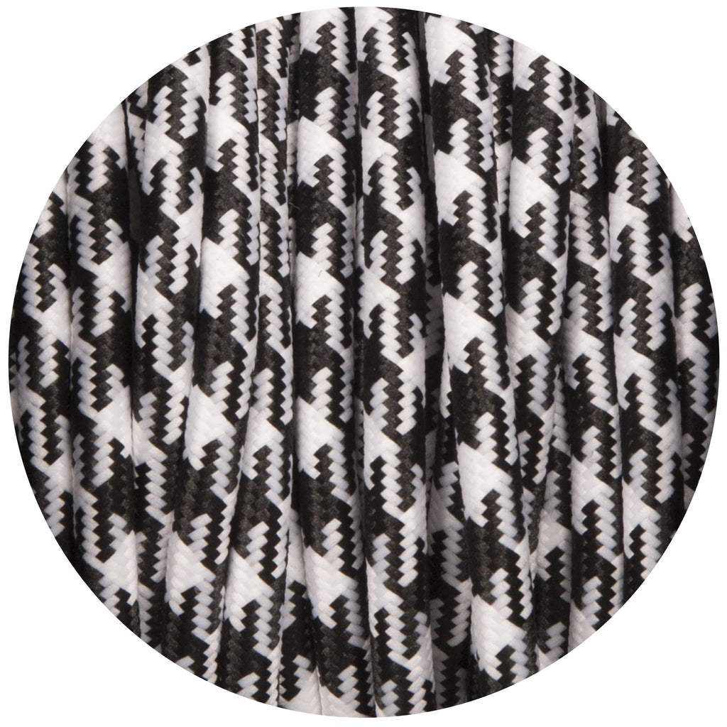 Black & White Dogtooth Round Fabric Braided Cable