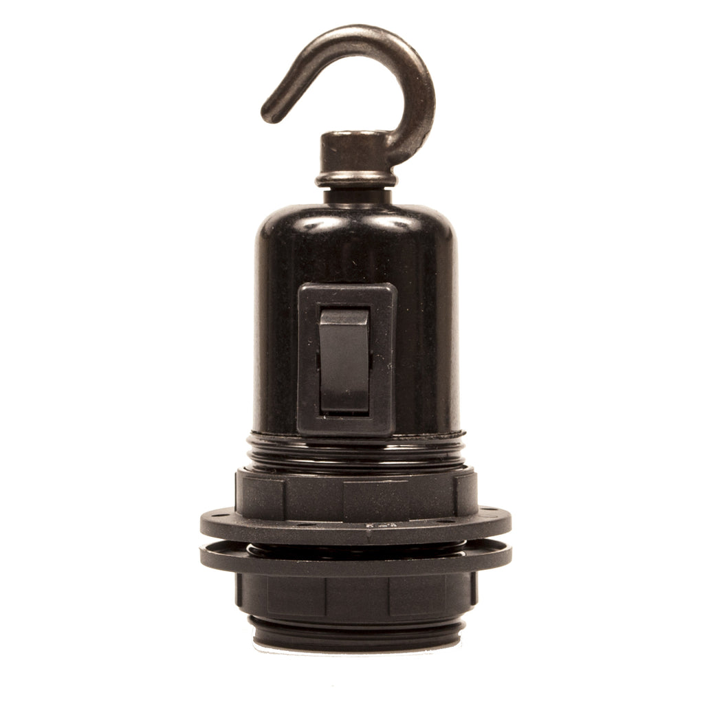 E27 Switched Black Bakelite Wide Ring Lampholder with hook