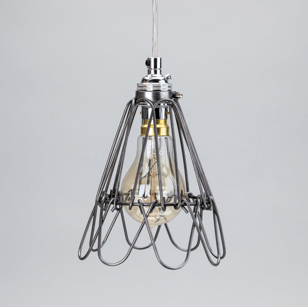 Small Deco Handmade Cage Pendant Lamp/Plugged Cordset