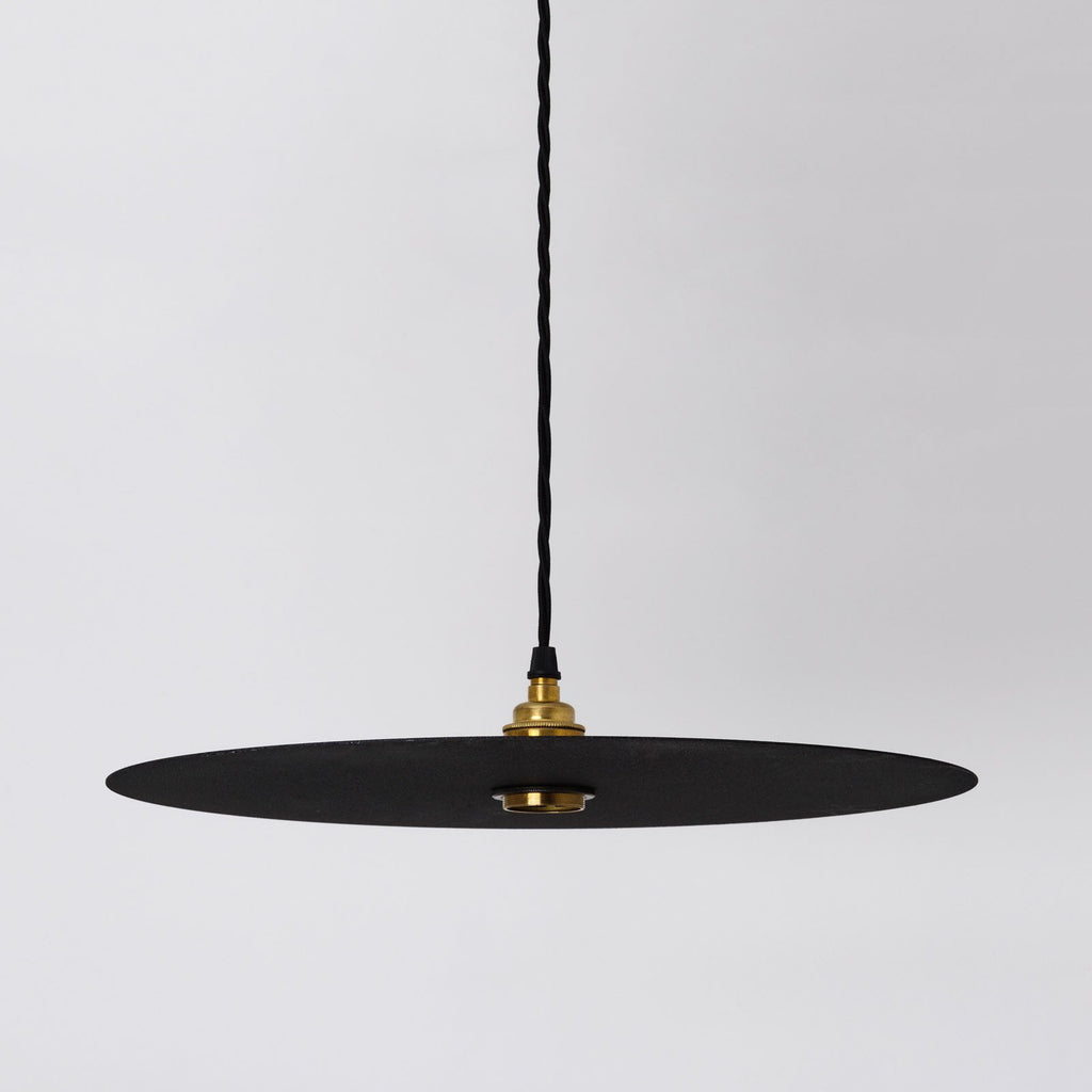 FACTORY SECOND Disc Large Black Flat Circular Shade - SHADE ONLY