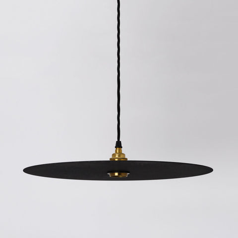 Disc Large Black Flat Circular Pendant Lamp