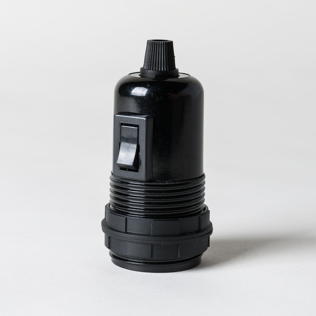 E27 Switched Black Bakelite Lampholder with grip