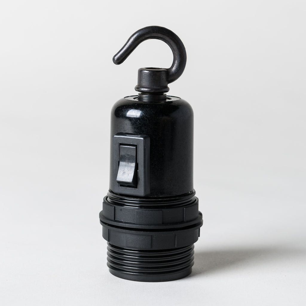 E27 Switched Black Bakelite Lampholder with hook