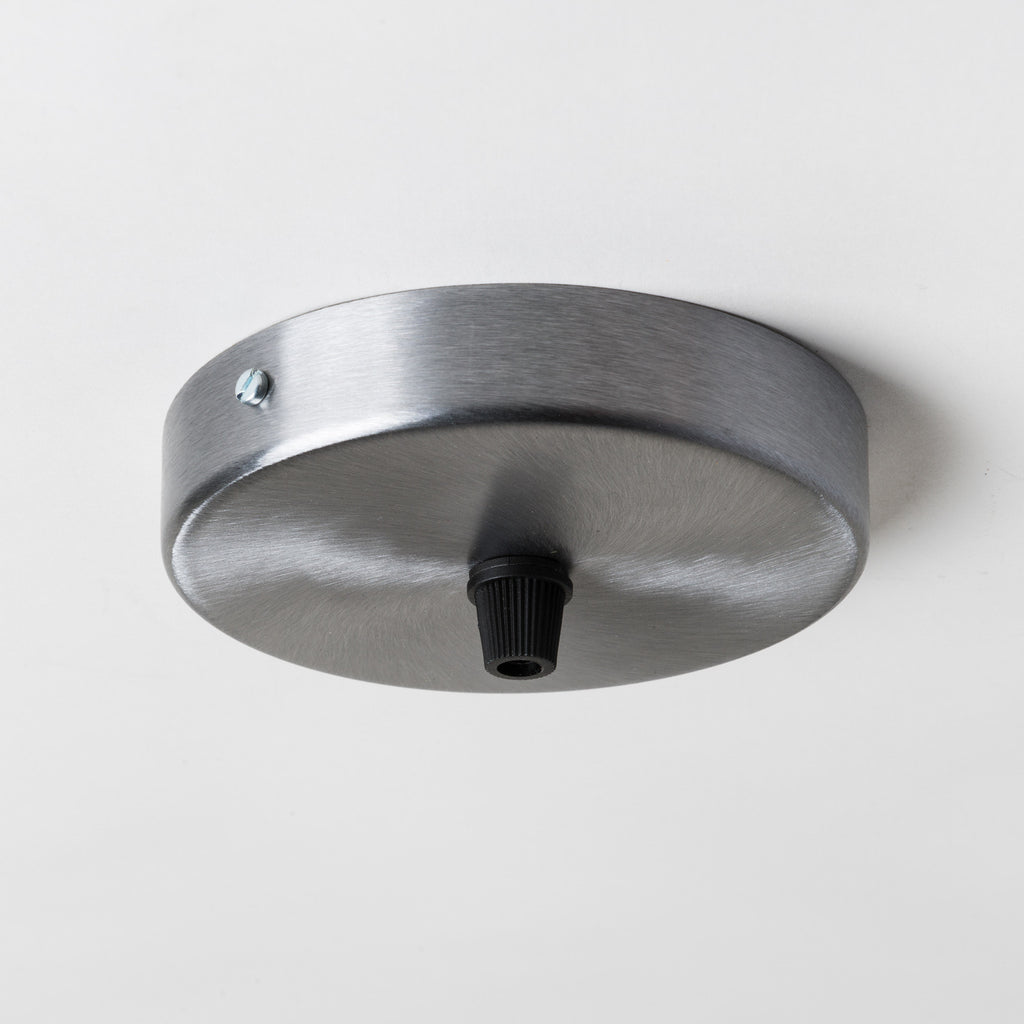 Brushed Steel 100mm Ceiling Rose - All Outlet Options
