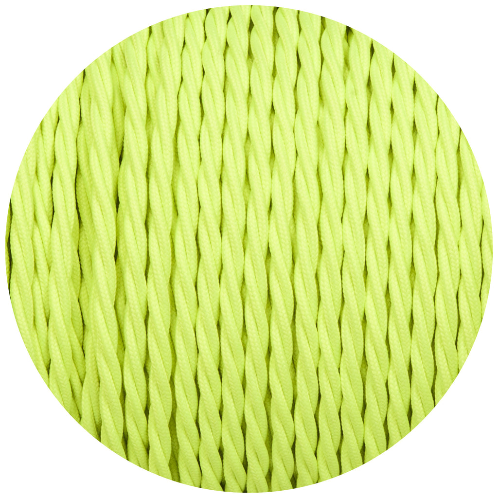 Flouro Hi-Viz Green Twisted Fabric Braided Cable