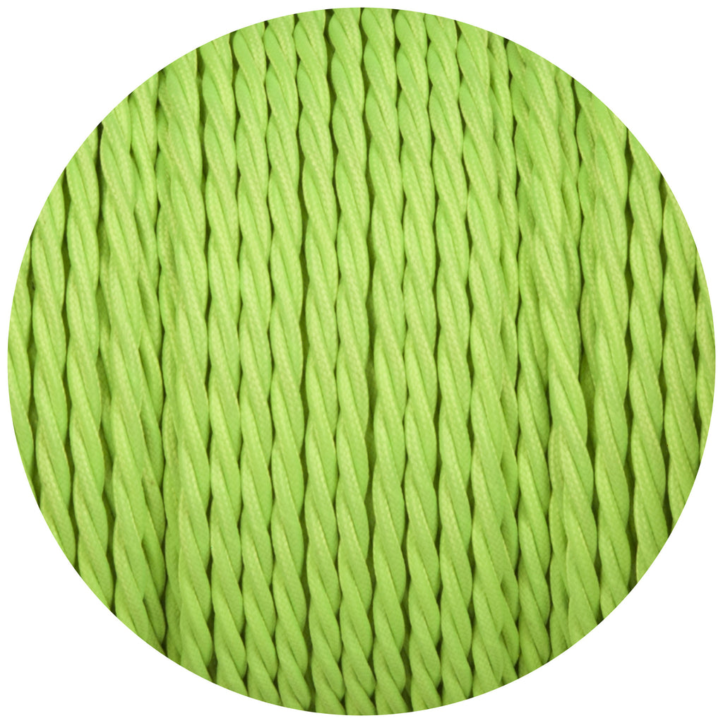 Flouro Lime Green Twisted Fabric Braided Cable