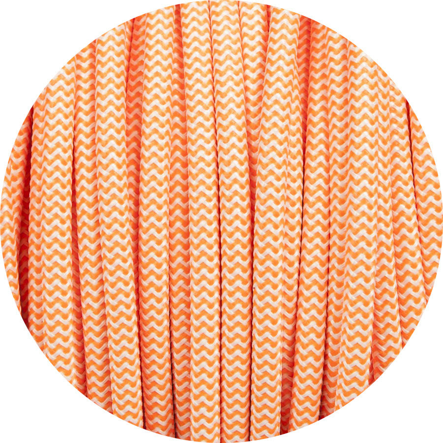 Flouro Orange & White Round Fabric Cable