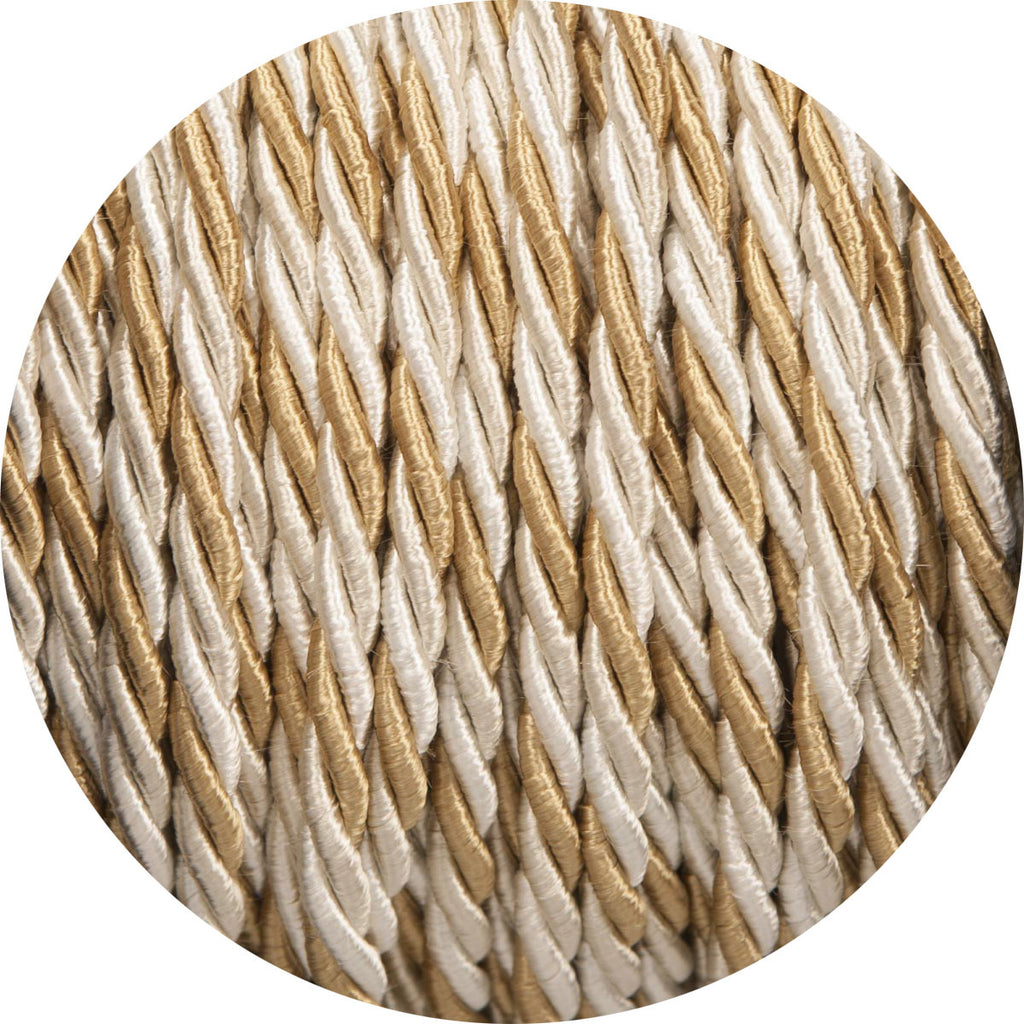 Gold & Cream Velvet Twisted Fabric Cable
