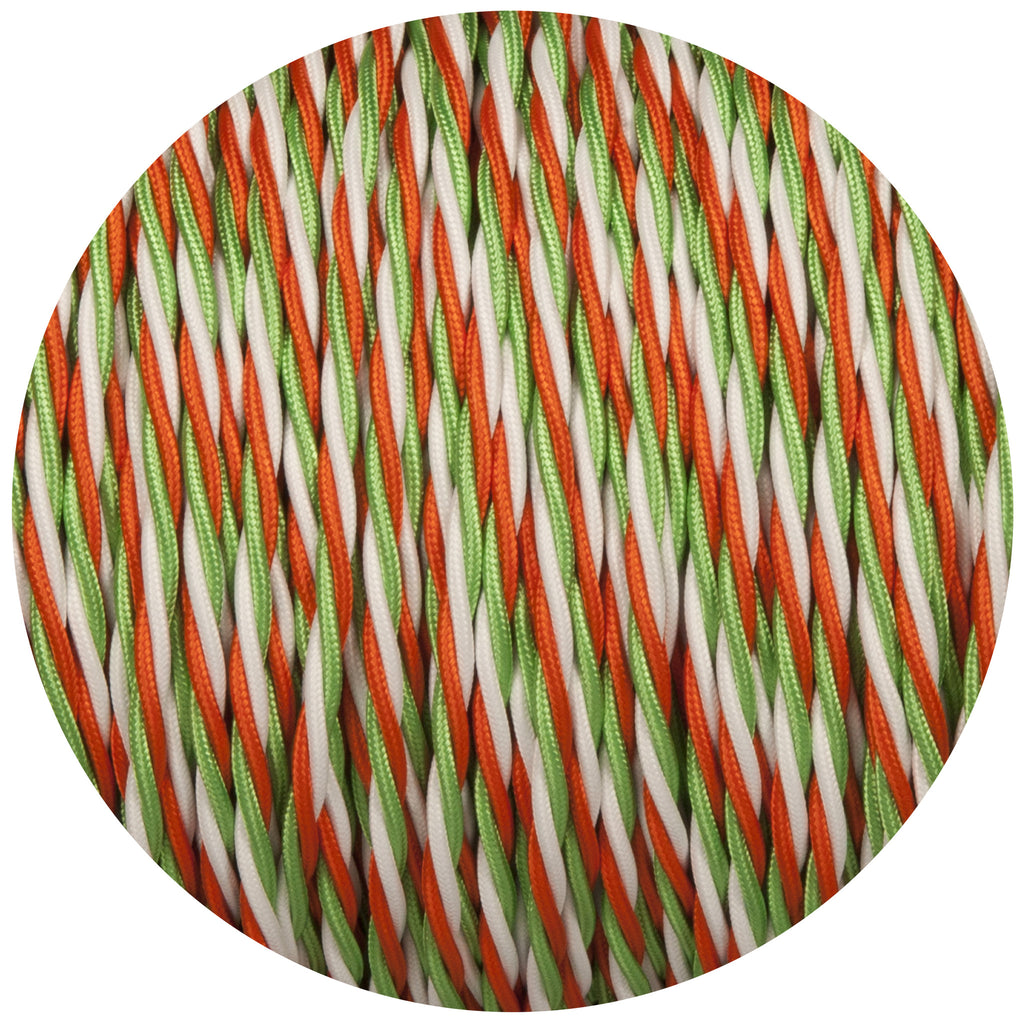 Green White & Orange Twisted Fabric Braided Cable