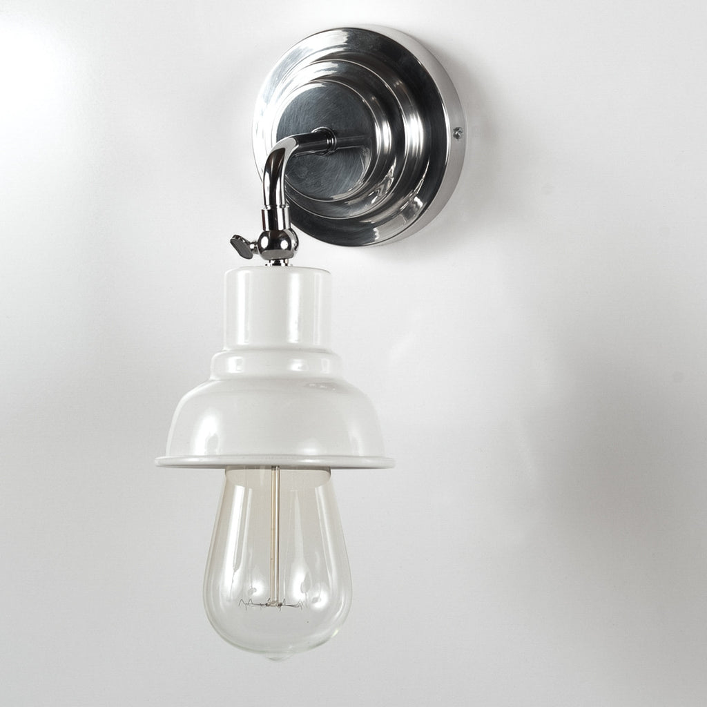 Hartley Adjustable Deco Nickel and White Wall Light