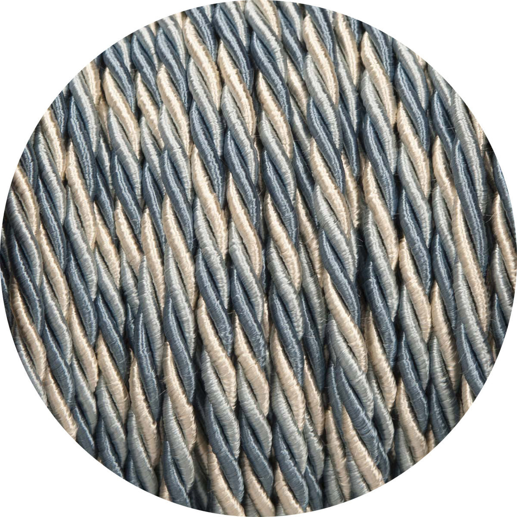 Light Blue & Cream Velvet Twisted Fabric Cable