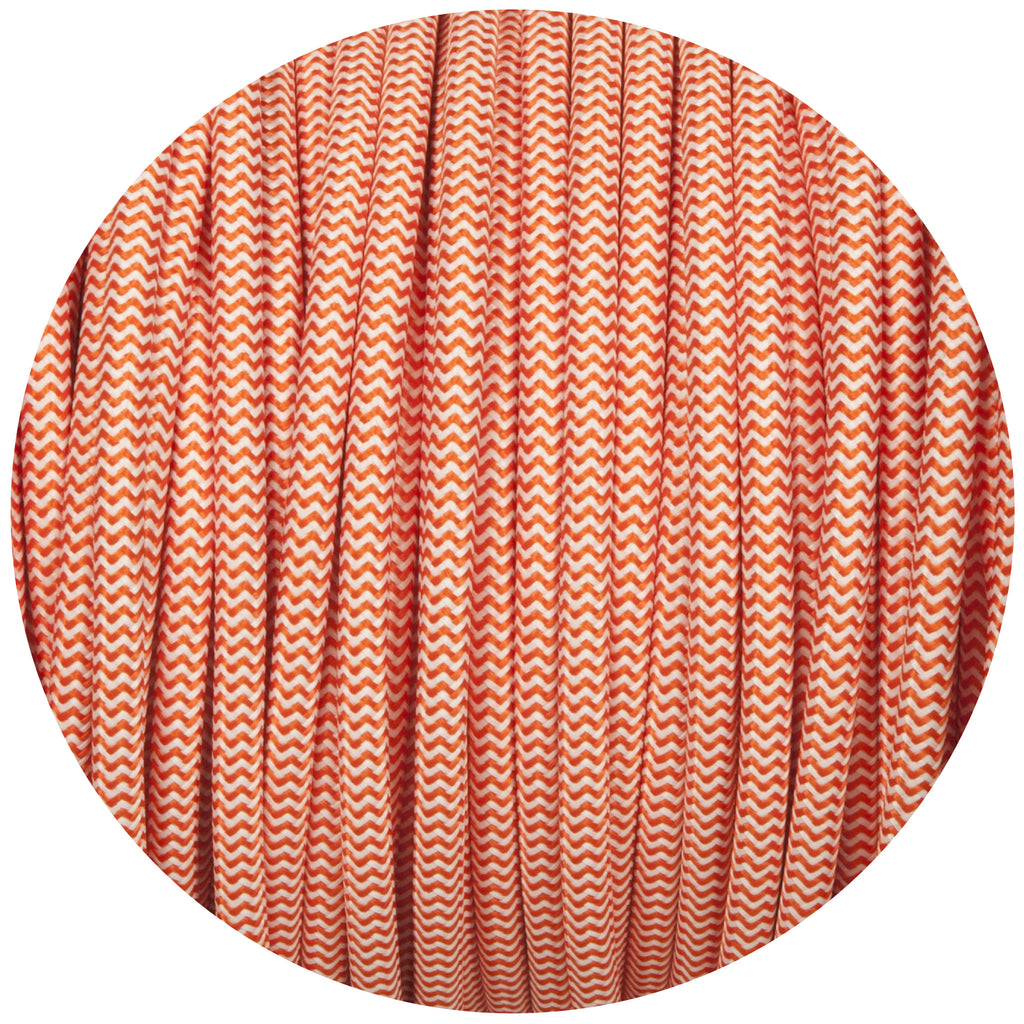 Orange & White Round Fabric Braided Cable
