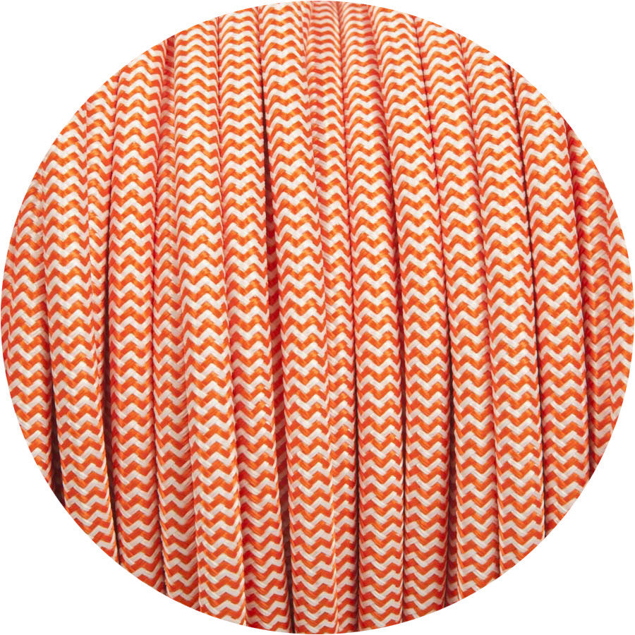 Orange & White Round Fabric Cable