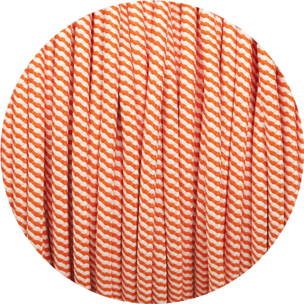 Matt Orange & White Spiral Round Fabric Cable