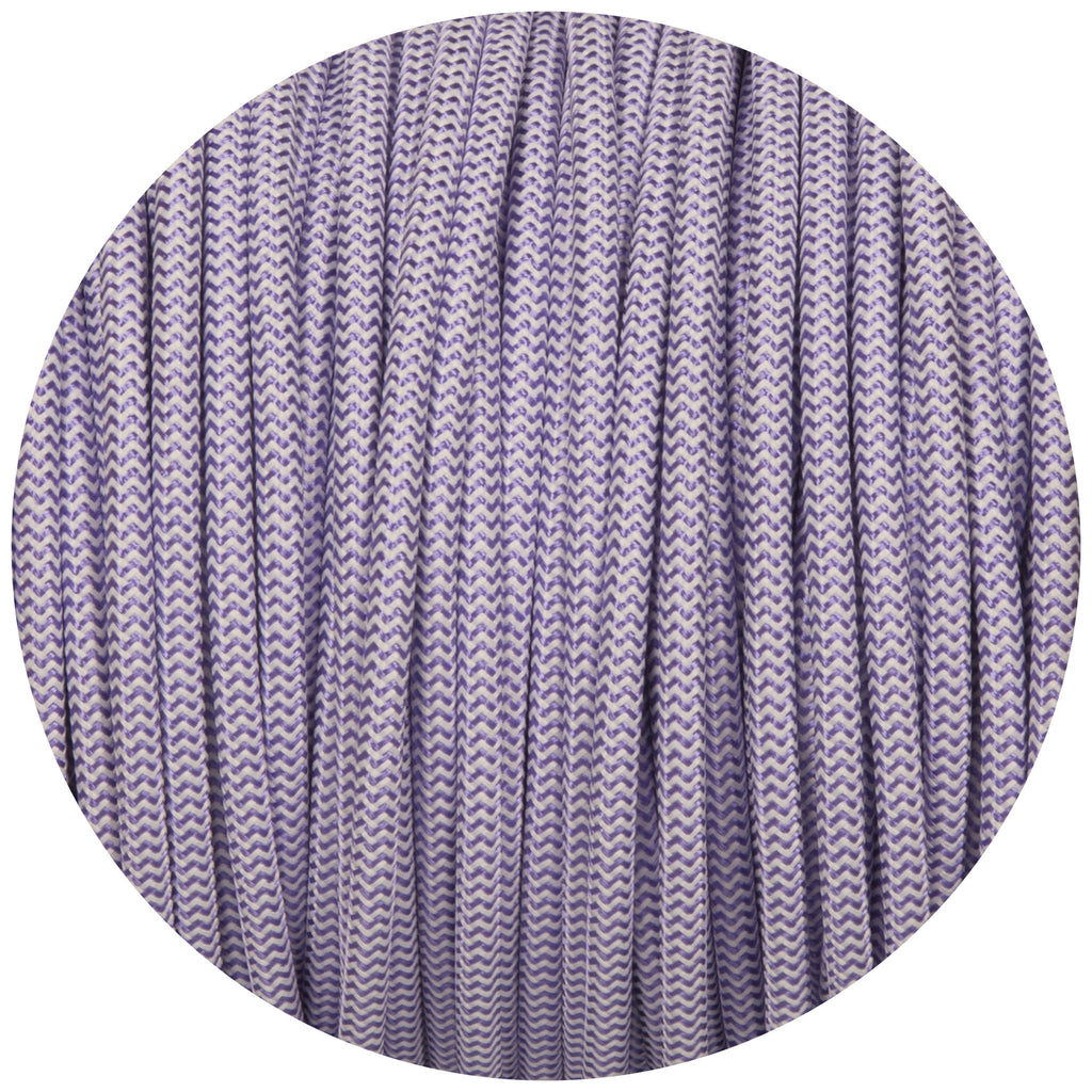 Purple & White Round Fabric Braided Cable