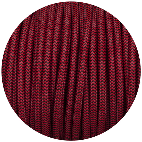 Black & Red Round Fabric Braided Cable