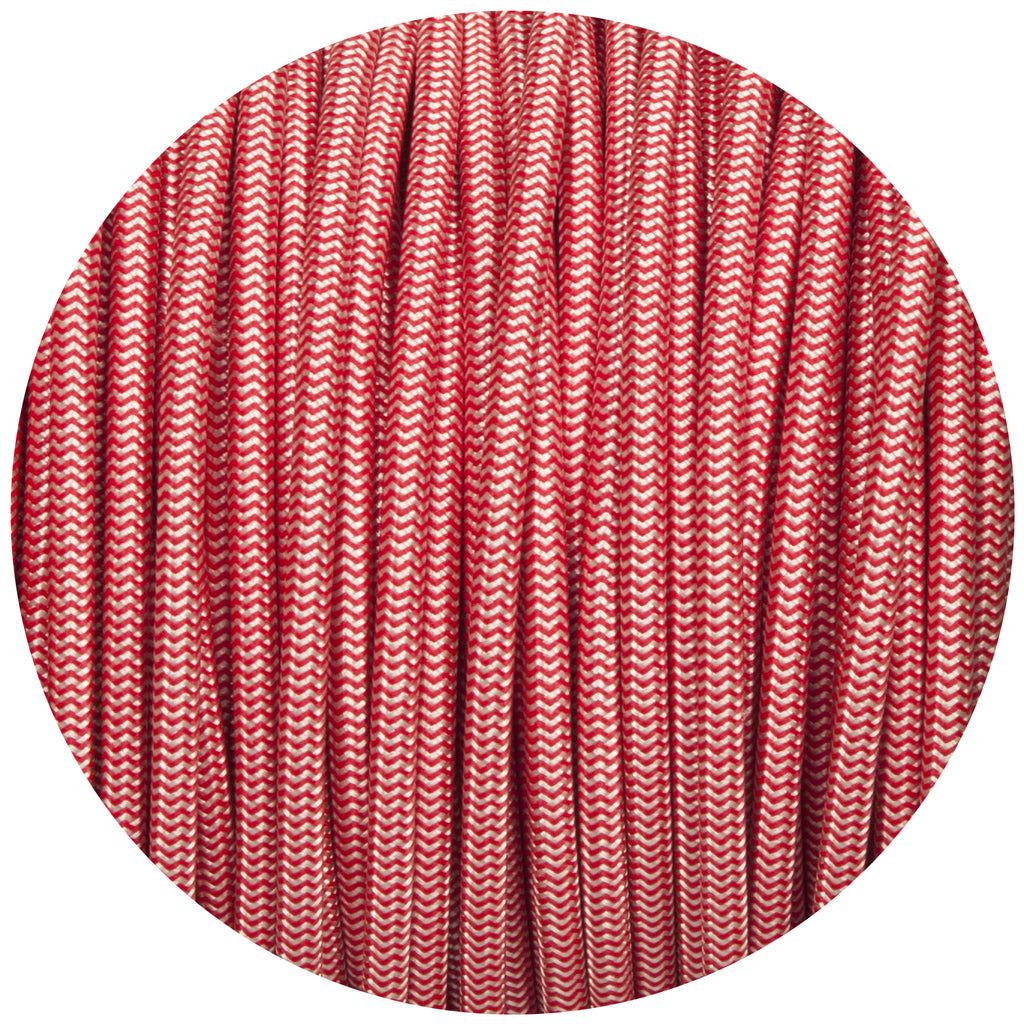 Silver & Red Round Fabric Braided Cable