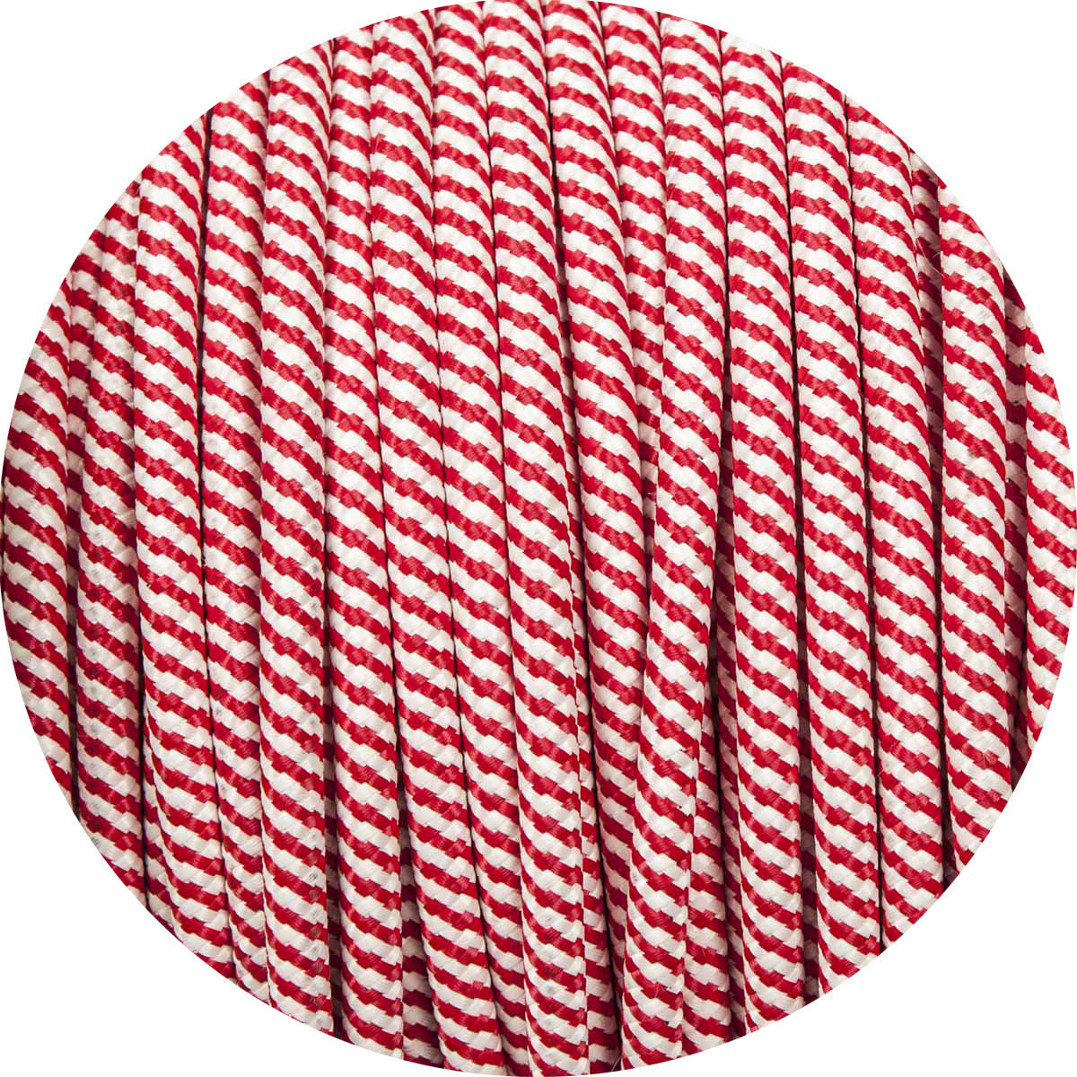 SHOP RED & WHITE SPIRAL ROUND FABRIC BRAIDED CABLE