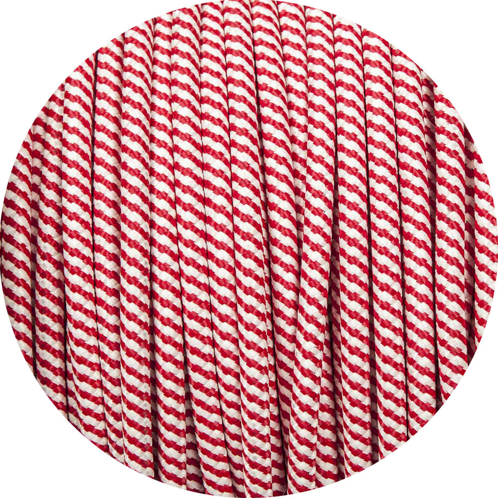 Red & White Spiral Round Fabric Braided Cable