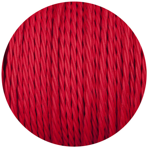 Red Twisted Fabric Braided Cable