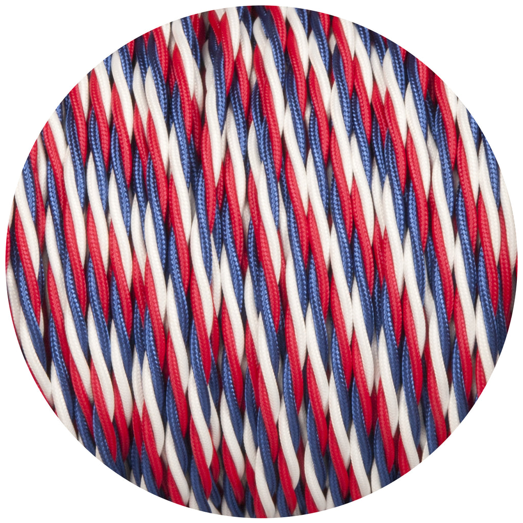 Red White & Blue Twisted Fabric Braided Cable