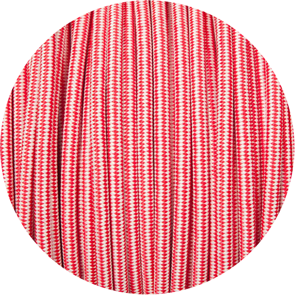 Red & White Diamond Round Fabric Braided Cable