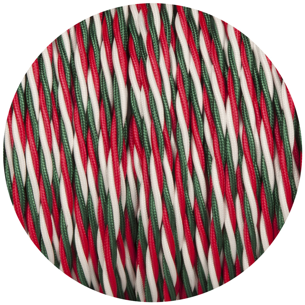 Green White & Red Twisted Fabric Braided Cable