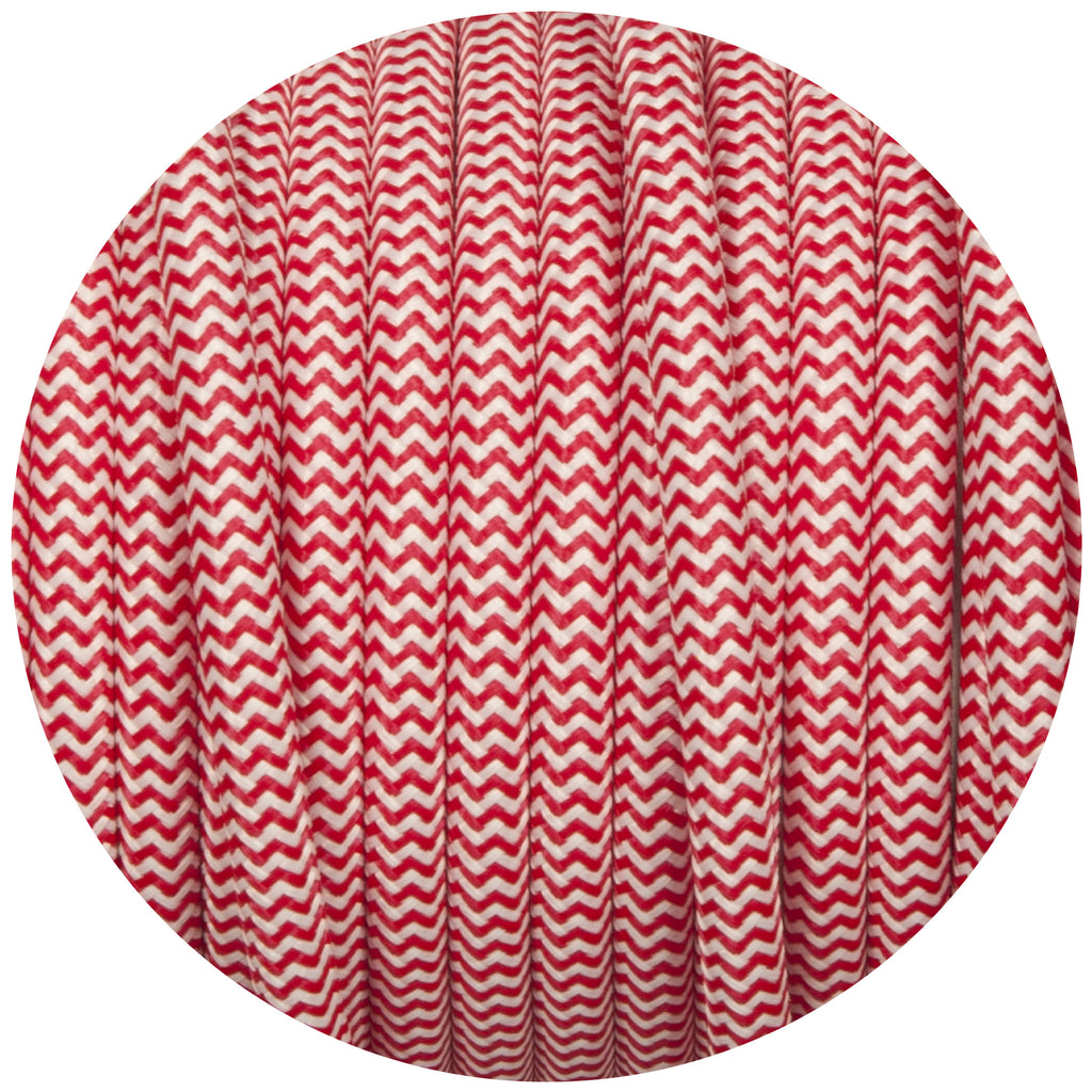 Red & White Round Fabric Braided Cable
