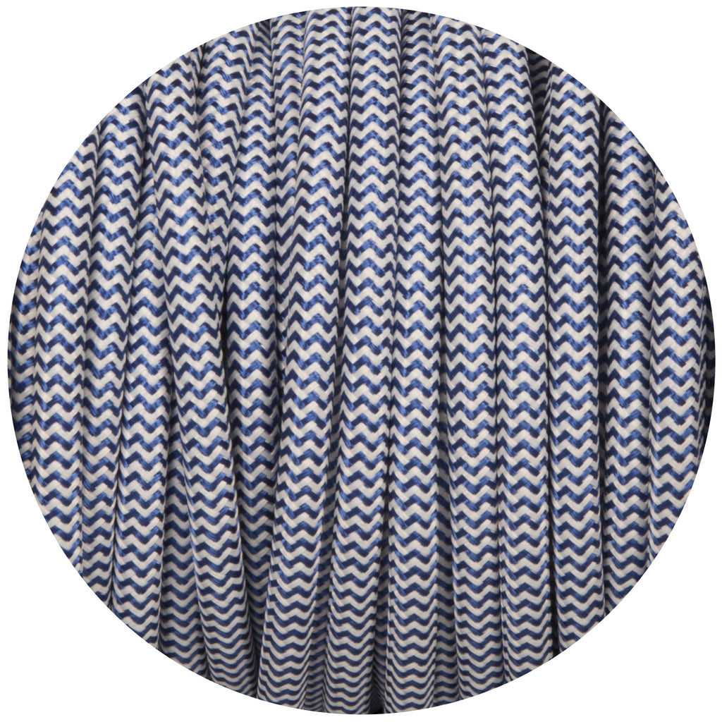 Royal Blue & White Round Fabric Braided Cable