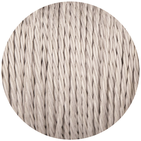 Silver Twisted Fabric Braided Cable