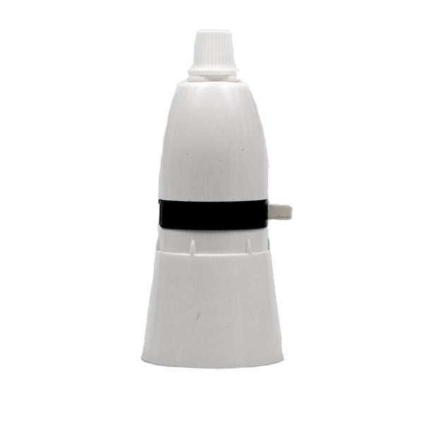 Switched Bayonet White Bakelite Lampholder with grip