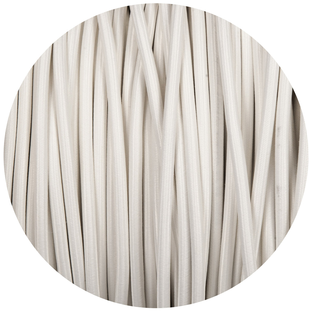 White Round Fabric Braided Cable