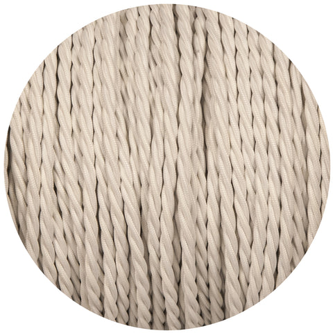 White Twisted Fabric Braided Cable