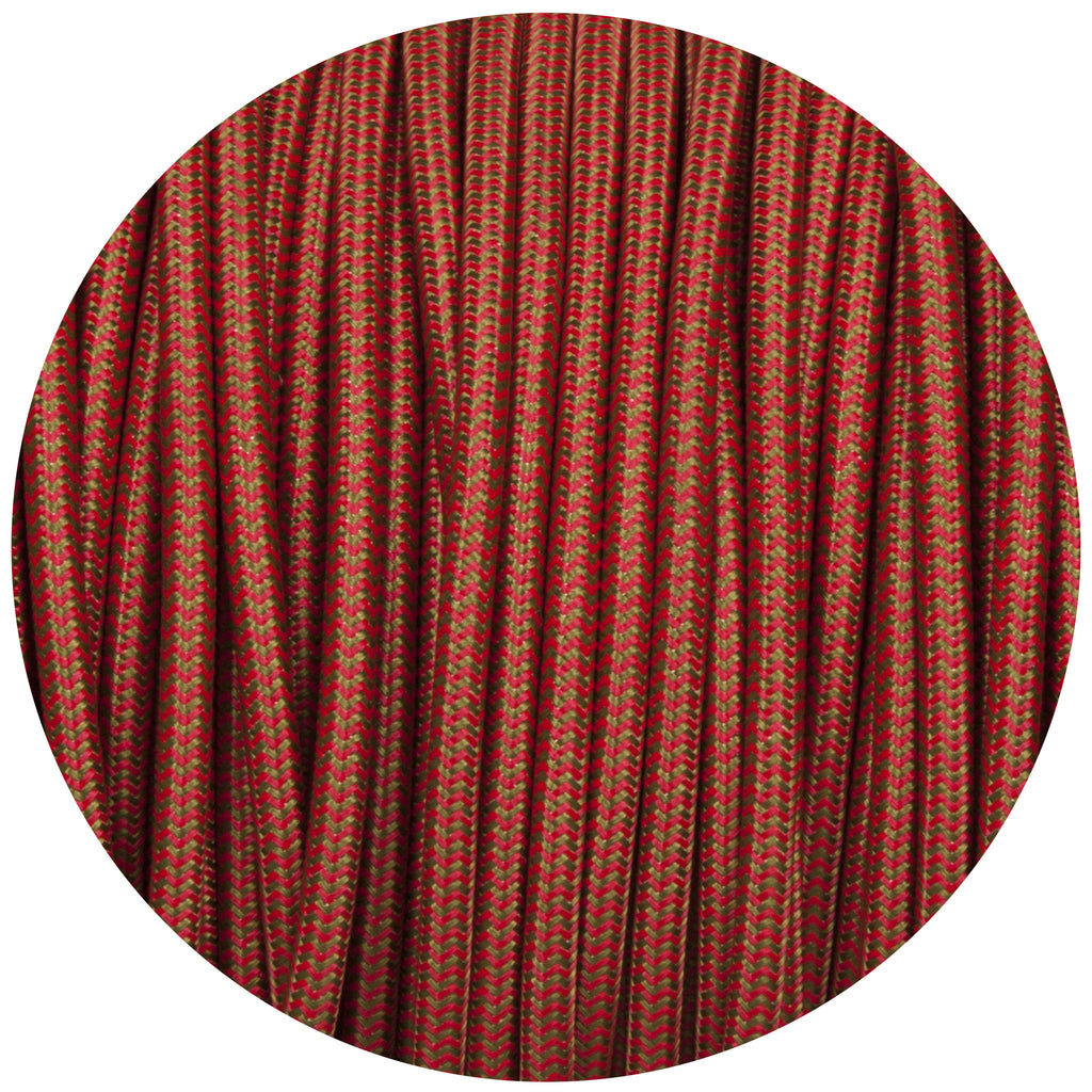 Red & Green Round Fabric Braided Cable