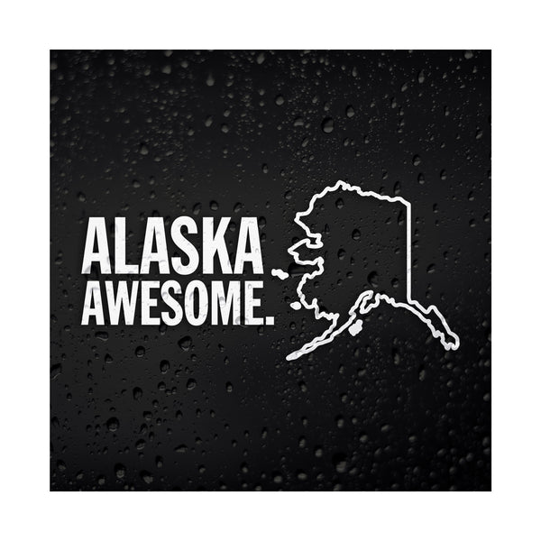 Alaska Awesome White Vinyl Sticker