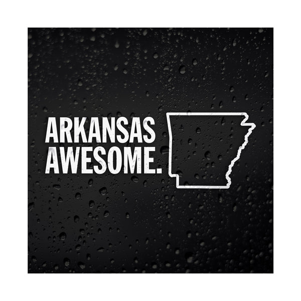 Arkansas Awesome White Vinyl Sticker