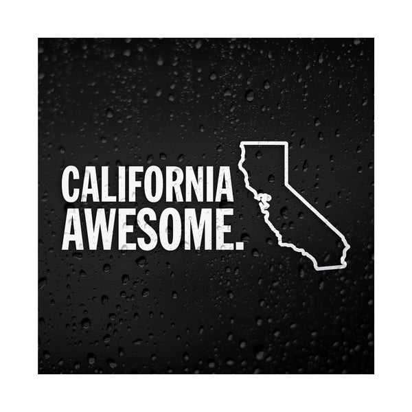 California Awesome White Vinyl Sticker