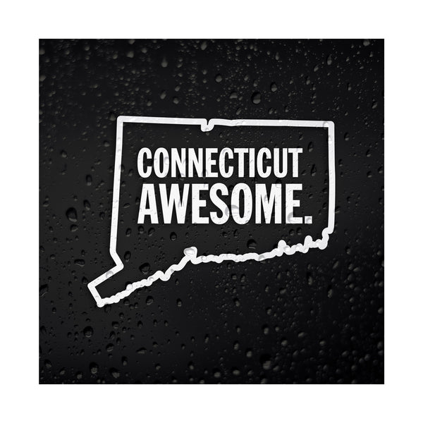 Connecticut Awesome White Vinyl Sticker