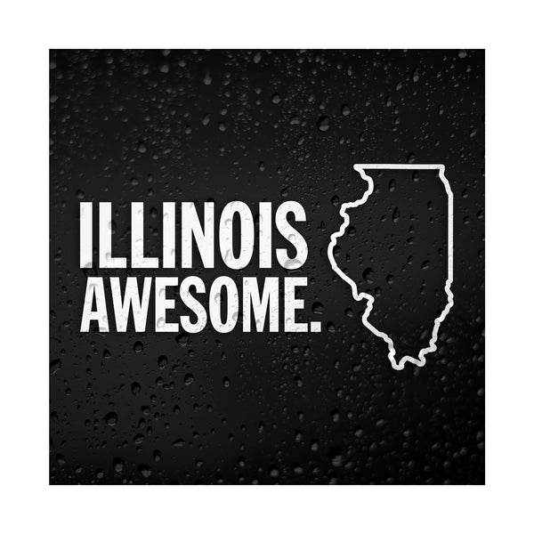 Illinois Awesome White Vinyl Sticker