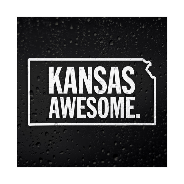 Kansas Awesome White Vinyl Sticker