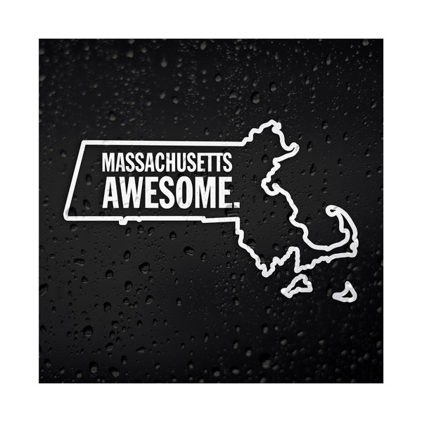 Massachusetts Awesome White Vinyl Sticker
