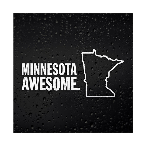 Minnesota Awesome White Vinyl Sticker